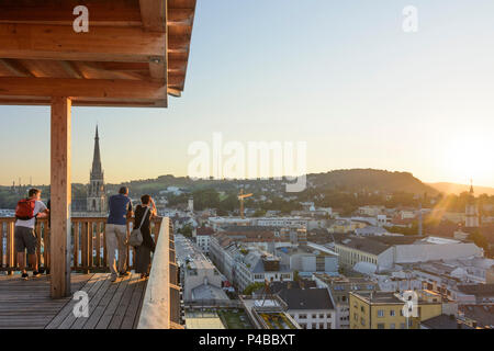 Linz, view from observation tower in exhibition 'Höhenrausch 2016' to New Cathedral, Donau, Oberösterreich, Upper Austria, Austria - Stock Photo