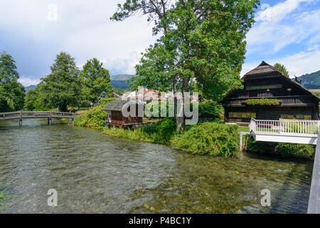 Seeboden am Millstätter See, exit stream Seebach of Millstätter See (Lake Millstatt), Kärnten, Carinthia, Austria - Stock Photo