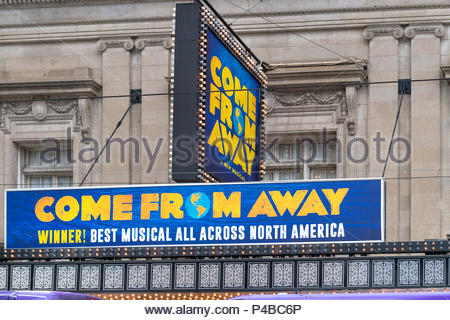 Toronto Canada: Come From  Away' sign in the Royal Alexandra Theatre in the downtown district. - Stock Photo