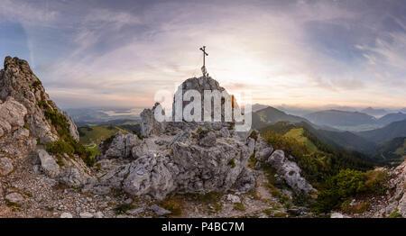 Chiemgau Alps, summit cross mountain Krampenwand. view to lake Chiemsee, Chiemgau, Upper Bavaria, Bavaria, Germany - Stock Photo
