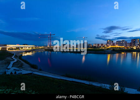 Vienna, Seestadt (lake city) Aspern in construction, houses, lake, 22. Donaustadt, Wien, Austria - Stock Photo