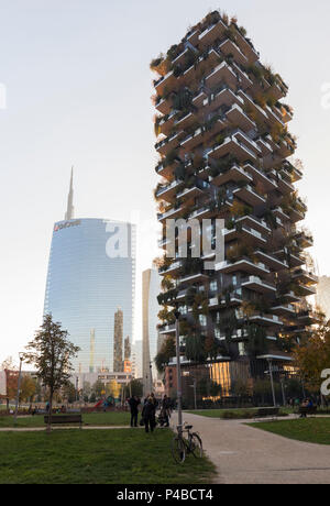 View of the Bosco Verticale and Unicredit Tower skyscrapers in Porta Nuova neighborhood. Milan, Lombardy, Italy. - Stock Photo