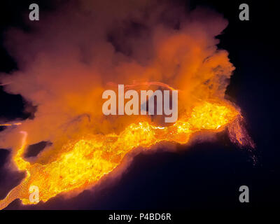 Lava and Plumes. Using a DJI Phantom 2 Drone with a GoPro to document the Eruption. August 29, 2014, a fissure eruption occurred in Holuhraun at the northern end of a magma intrusion which had moved progressively north, from the Bardarbunga volcano.Picture Date-Sept. 20, 2014 - Stock Photo