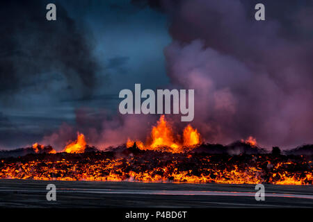 Glowing lava from the eruption at the Holuhraun Fissure, near the Bardarbunga Volcano. August 29, 2014 a fissure eruption started in Holuhraun at the northern end of a magma intrusion, which had moved progressively north, from the Bardarbunga volcano. Picture Date-Sept. 2, 2014 - Stock Photo