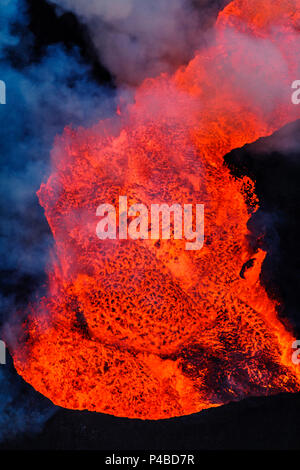 Close-up of lava glowing from the eruption at the Holuhraun Fissure. August 29, 2014 a fissure eruption started in Holuhraun at the northern end of a magma intrusion, which had moved progressively north, from the Bardarbunga volcano. Picture Date: October 30, 2014 - Stock Photo