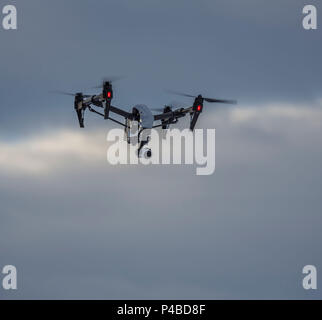 Radio controlled Drone with Camera. Eruption at the Holuhraun Fissure, Bardarbunga Volcano, Iceland - Stock Photo