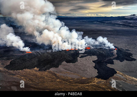 Lava and plumes from the Holuhraun Fissure by the Bardarbunga Volcano, Iceland. Sept. 1, 2014 Aerial view of the eruption at the Holuhraun Fissure by the Bardarbunga Volcano, Iceland. Looking South East with the Kverkfjoll mountain range in the distance. Dust storms result from the Hurricane Cristobal in the South Atlantic. On August 29, 2014, a fissure eruption started in Holuhraun at the northern end of a magma intrusion that had moved progressively north, from the Bardarbunga volcano. Bardarbunga is a stratovolcano located under Vatnajokull, Icelands most extensive glacier. - Stock Photo