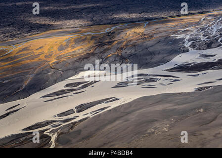 Aerial view- Jokulsa a Fjollum a glacier river, Krepputunga, North of Vatnajokull, Iceland Sands and lava close to the eruption site at Holuhran. On August 29, 2014 a fissure eruption started in Holuhraun at the northern end of a magma intrusion, which had moved progressively north, from the Bardarbunga volcano. Picture Date-Sept. 3, 2014 - Stock Photo