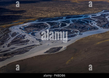 Aerial view- Jokulsa a Fjollum a glacier river, Krepputunga, North of Vatnajokull, Iceland. Sands and lava close to the eruption site at Holuhran. On August 29, 2014 a fissure eruption started in Holuhraun at the northern end of a magma intrusion, which had moved progressively north, from the Bardarbunga volcano. Picture Date-Sept. 3, 2014 - Stock Photo