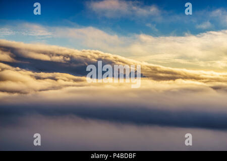 Clouds and steam, Holuhraun Fissure Eruption, Bardarbunga Volcano, Iceland - Stock Photo