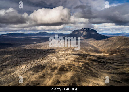 Mt. Herdubreid, Central Highlands, Iceland. Mt. Herdubreid is a high table mountain in the highlands and close to Askja volanco. It is also near the Holuhraun Lava Field. On August 29, 2014 a fissure eruption started in Holuhraun at the northern end of a magma intrusion, which had moved progressively north, from the Bardarbunga volcano. - Stock Photo