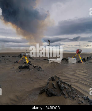 Scientific equipment-Volcanic plumes with toxic gases, Holuhraun Fissure Eruption, Iceland. August 29, 2014 a fissure eruption started in Holuhraun at the northern end of a magma intrusion, which had moved progressively north, from the Bardarbunga volcano. Picture Date-Sept.2, 2014 - Stock Photo