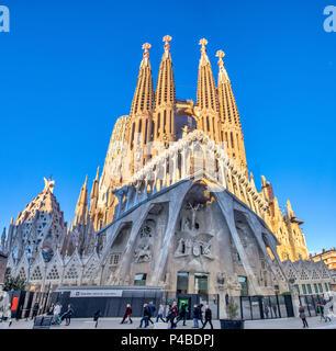 Spain, Catalunya, Barcelona City, Sagrada Familia Temple, Gaudi, - Stock Photo