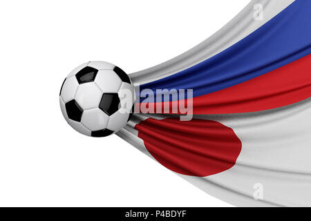 Russia and Japan flag with a soccer ball. 3D Rendering - Stock Photo