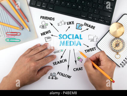 social media Concept. Chart with keywords and icons - Stock Photo