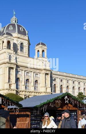 Vienna, Christmas Market in front of museum of Natural History, 01. Old Town, Wien, Austria - Stock Photo