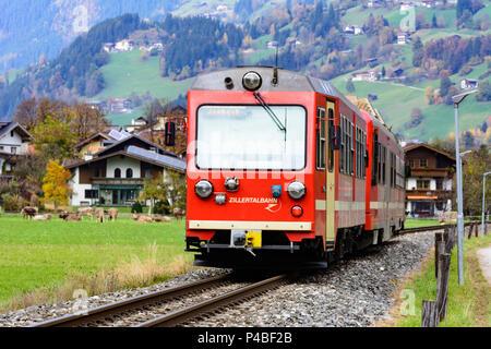 Aschau im Zillertal, Zillertal Railway, Zillertal Valley, Tyrol, Austria - Stock Photo