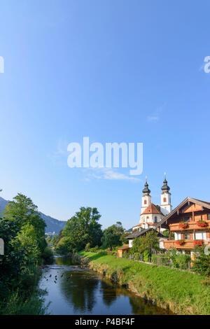 Aschau im Chiemgau, church, river Prien, Chiemgau, Upper Bavaria, Bavaria, Germany - Stock Photo