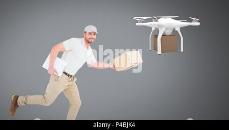 Man running with delivery parcel and drone - Stock Photo