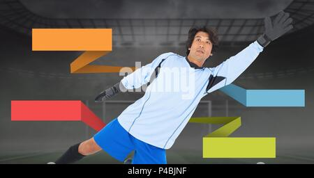Blank infographic panels and soccer goalkeeper - Stock Photo