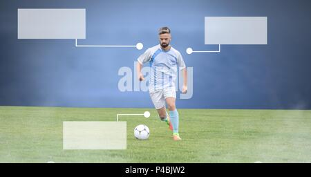 Blank infographic panels and Soccer player on grass with stadium - Stock Photo
