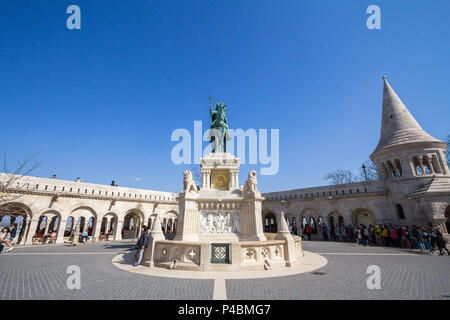 BUDAPEST, HUNGARY - APRIL 8, 2017: Stephan I statue (Szent Istvan) on Fisherman's Bastion (Halaszbastya) in Budapest castle during the afternoon. This - Stock Photo