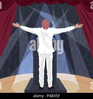Artist, man in white suit standing on stage of theater with raised open arms outstretched. In hall crowd of spectators. Back view. Simplistic realisti - Stock Photo