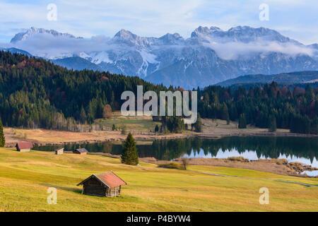 Near Krün, lake Geroldsee (Wagenbrüchsee), alpine pasture alp, mountain Karwendel, Upper Bavaria, Bavaria, Germany - Stock Photo