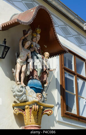 Purbach am Neusiedler See, piety figures at house, Neusiedler See (Lake Neusiedl), Burgenland, Austria - Stock Photo