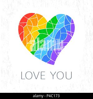lgbt heart symbol - Stock Photo
