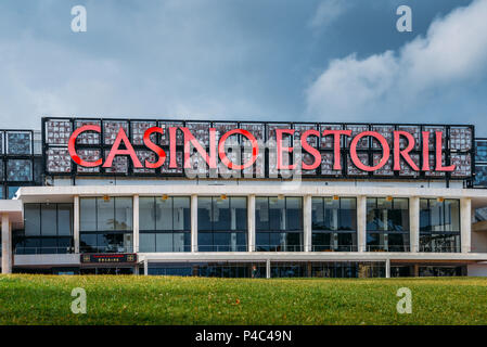 Facade of the Casino Estoril in Estoril city, just outside of Lisbon. One of the largest casinos in Europe - Stock Photo