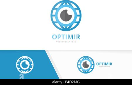 Vector eye and planet logo combination. Optic and world symbol or icon. Unique vision and globe logotype design template. - Stock Photo