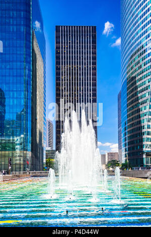 'Fontaine Monumentale' by Israeli artist Yaacov Agam. This fountain is covered in mosaic tiles and sits in the La Defense area in Paris, France - Stock Photo