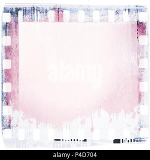 Grunge dripping film strip frame in pink and blue. - Stock Photo