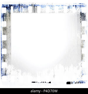 Grunge dripping film strip frame in blue tones. - Stock Photo