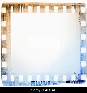 Vintage film strip frame in blue and sepia tones. - Stock Photo