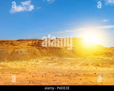 Desert background. Beautiful landscape of spectacular gorge of Colored Canyon, near Mount Sinai and Nuweiba, Sinai Peninsula in Egypt. Sunset light with copy space. - Stock Photo