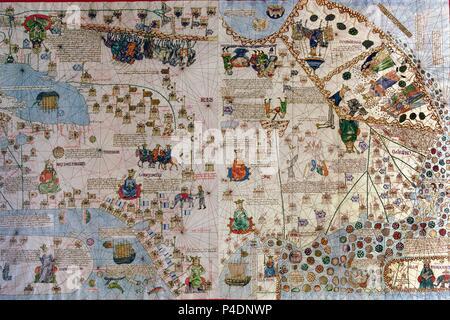 Catalan Atlas: Detail of Asia - 1375. Author: Abraham Cresques (1325-1387). Location: NATIONAL LIBRARY, FRANCE. Also known as: ATLAS CATALAN-DETALLE DE ASIA.