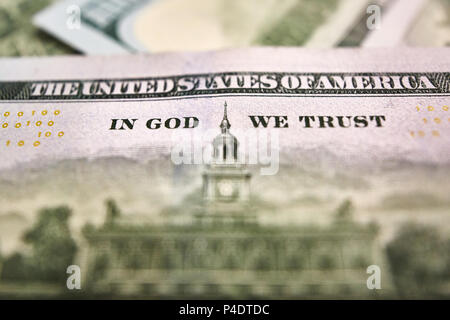 fragment of dollar bill . American money dollar.  - Stock Photo