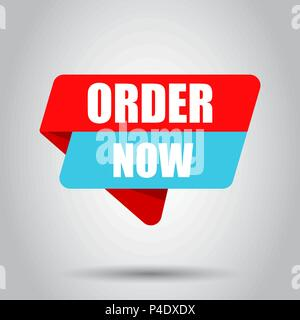 Order now banner badge icon. Vector illustration. Business concept order now pictogram. - Stock Photo