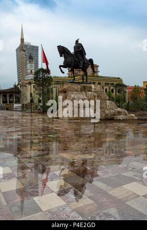 Equestrian statue of Skanderberg, Skanderberg square, Tirana, Albania - Stock Photo