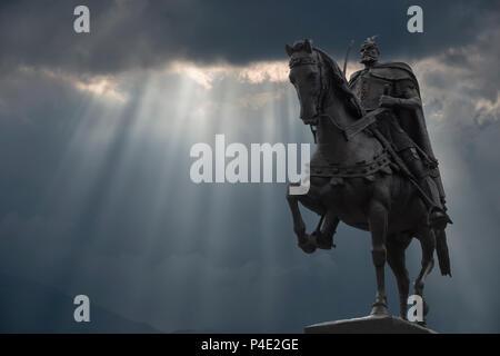 Skanderberg Equestrian statue, Tirana, Albania - Stock Photo