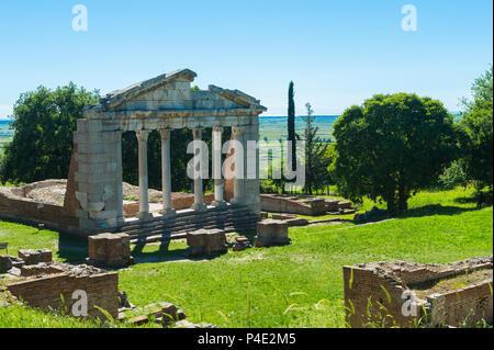 Agonothetes or Bouleuterion Monument, Apollonia Archaeological Park, Pojani Village, Illyria, Albania - Stock Photo
