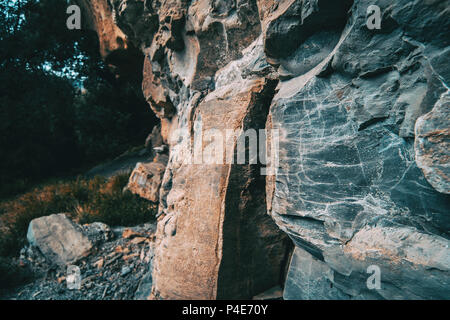 Close-up of textures and abstract shapes of stones in nature - Stock Photo