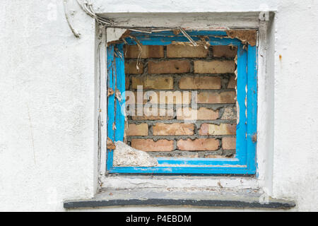 Bricked up window space. Possible for 'Watch this Space' or 'Hole in the Wall' concepts. - Stock Photo