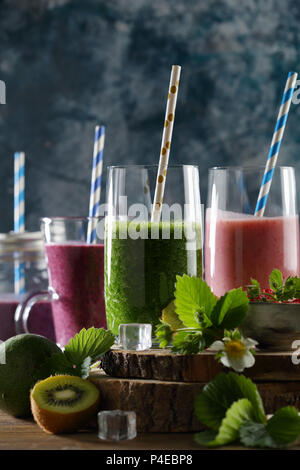 Fruits summer detox beverages, healthy lifestyle - Stock Photo
