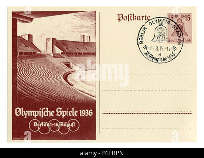 German historical postal card: 11th Summer Olympic games 1936 in Berlin, The Olympic stadium. The bell is a symbol of the games, special cancellation, - Stock Photo