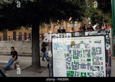 Students of Public University 'La Sapienza'. Rome Italy. - Stock Photo