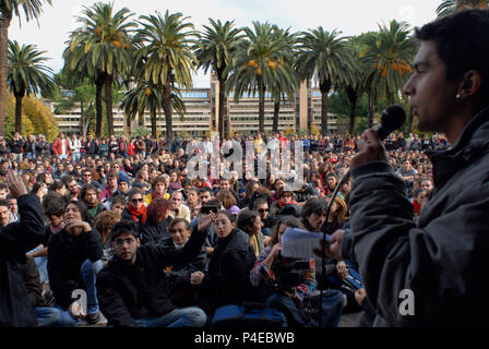 Students demonstration against government policy, Public University 'La Sapienza'. Rome, Italy. - Stock Photo