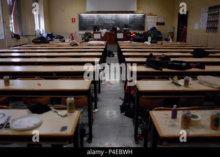 Protest against government policy, Public University 'La Sapienza'. Rome. Italy. - Stock Photo